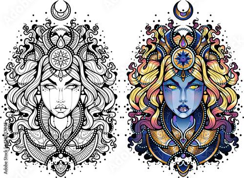 Tatuaż kobieta w granatowej szacie z magicznymi symbolami. Blond włosy. Czarno biały obrys kolorowanka Tatuaż kobieta. Płaska ilustracja wektorowa.  - fototapety na wymiar
