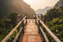 Bamboo Bridge In The Mountains