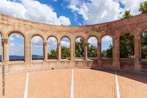 Canvas Print Observation deck with arches in Abbey of Montserrat
