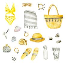 Watercolor Women's Summer Items -  Beach Mat, Bag, Bracelets, Wallet, Straw Hat,swimsuit, Sunglasses,  Bottle, Sea Shells, Flip-flops, Key, Sun Cream. Isolated On White. Ideal For Summer Poster, Card