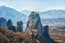 Greece, Monastery On The Rocks In Meteora