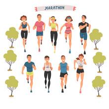 Cheerful People Running Marathon Set, Male And Female Athletes In Sports Uniform Running Outdoors Cartoon Vector Illustration