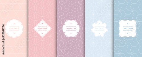 Set of colorful geometric seamless ornamental patterns - symmetric textures. Vector repeatable oriental backgrounds, delicate design - fototapety na wymiar