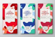 Chocolate Labels Set. Abstract Vector Packaging Design Layouts Collection. Modern Typography, Hand Drawn Red Ribes, Currant, Cranberry Berries And Colorful Camouflage Pattern Background. Isolated