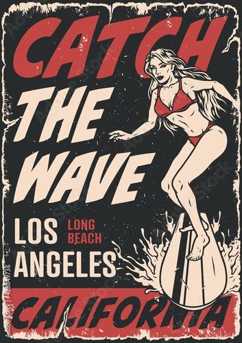 Fototapeta premium Surfing vintage poster