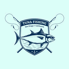 Vector Tuna Fishing Badge Design Concept