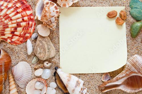 Obraz na plátně Idea for Beach Wedding Invitations. Seashells and sand