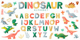 Fototapeta Dinusie - Cartoon cute dinosaur alphabet. Vector illustration with dino for t-shirts, cards, posters, birthday party, paper design, kids and nursery design.