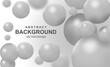 Abstract background with grey balls. Colorful bubbles pattern design, futuristic composition with glossy spheres or particles. Dynamic backdrop with 3d geometric shapes. Realistic vector illustration.
