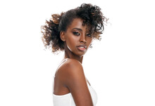 Portrait Of Attractive Black Girl With A Fashionable Hairstyle Looking At Camera Isolated On White Background