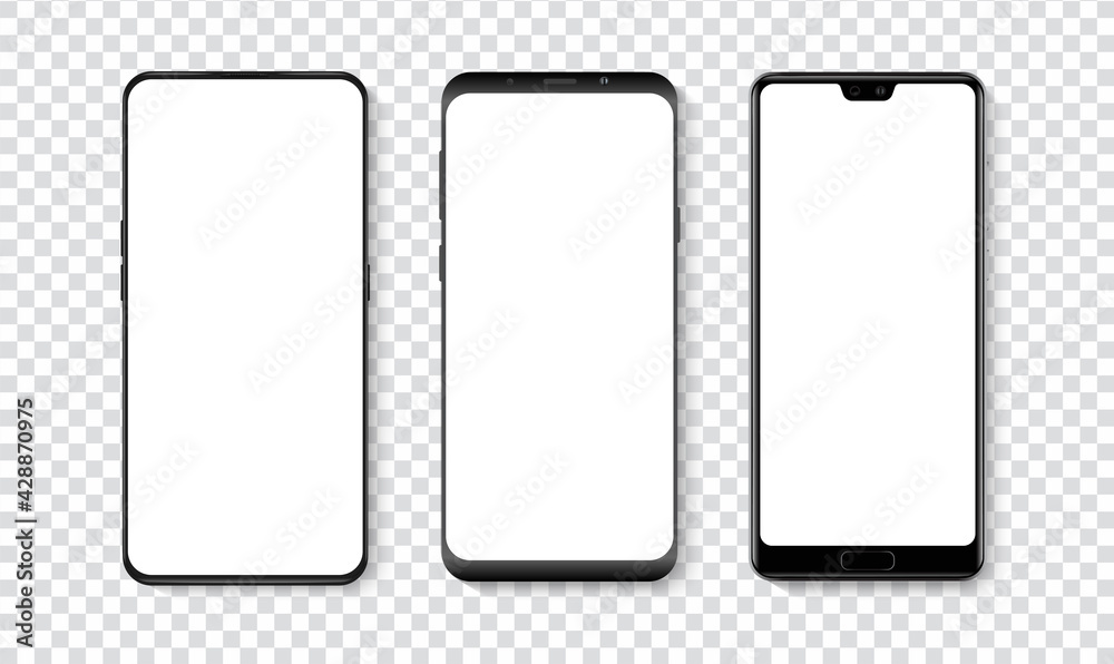 Fototapeta High quality realistic trendy smartphone with blank white screen. Phone mockup for visual UI UX app demonstration. Vector mobile set device concept