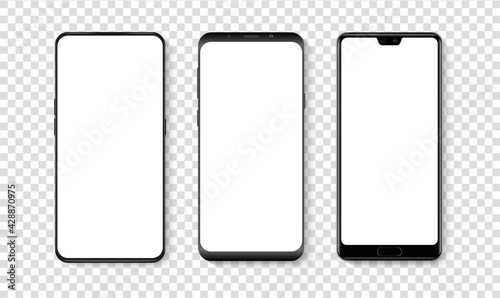 Obraz High quality realistic trendy smartphone with blank white screen. Phone mockup for visual UI UX app demonstration. Vector mobile set device concept - fototapety do salonu