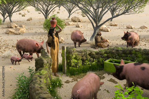 Fotografia Jesus parables about the Prodigal Son, who was to tend pigs from famine