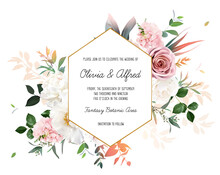 Blush Pink Roses, Hydrangea, Ivory Peony Vector Design Invitation Frame