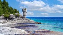 Scenic Fathom Five National Marine Park And Famous Flowerpot Island Accessible By Tourist Bot From Tobermory.