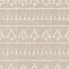 Seamless Christmas Tree Holiday Background. Fir Sprig Spruce Monochrome Pattern Texture. Linen Scandi Festive Christmas Motif Background. Stylish Modern Seasonal Gift Wrapping Paper.