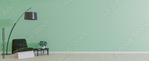 Obraz Empty room with armchair on empty green wall background. Modern minimalist interior with armchair, plant, table and a lamp. 3d rendering. - fototapety do salonu
