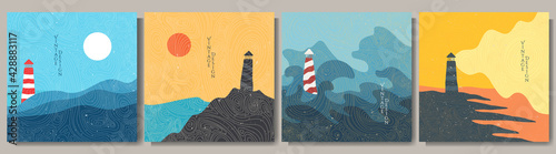 Vector illustration. Minimalist contemporary painting landscapes. Japanese pattern overlay. Modern graphic art. Hand drawn design elements for social media template, banner. Lighthouse by the sea