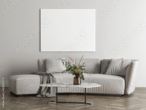 Mockup poster for presentation in living room design, 3d render, 3d illustration  - fototapety na wymiar