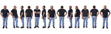 View Of The Same Latino American Man Standing In Different Poses On White Background,