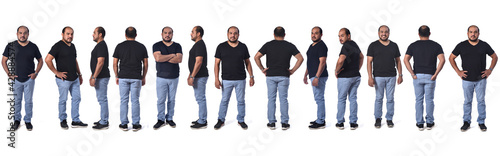 Fotografie, Obraz view of the same latino american man standing in different poses on white backgr