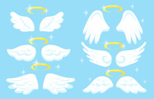 Creative Angel Wings With Gold Nimbus Flat Pictures Set Illustrations White Background