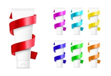 Blank Plastic Tube Mockup With Colourful Ribbon. Front View. Vector Illustration Isolated On White Background. Can Be Use For Your Design, Advertising, Promo And Etc. EPS10.