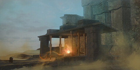 Digital fantasy painting of a magic ritual in a desert temple by a cult of mysterious monks - 3d illustration