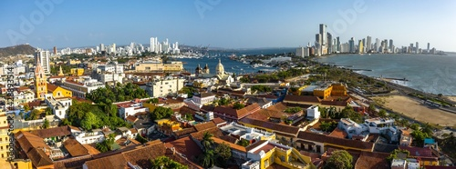 The Cartagena old and modern city aerial panorama view