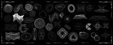 Abstract Shapes Collection Is A Trending Mixture Modern Diverse Design Elements,  Geometric Shapes. Cyberpunk Retro Futurism Set, Vaporwave. Memphis Design Elements For Web, Advertisement,posters