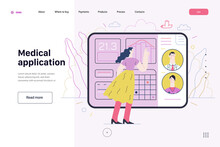 Medical Insurance Template - Medical Application. Flat Vector