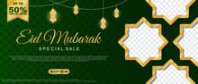 Special Sale Eid Mubarak Sale Islamic Ornament Lantern Banner Template. Suitable For Social Media Post And Web Header. Vector Illustration
