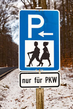 Traffic Sign Hikers Parking