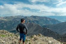 Hiker On Top Of LaPlata Peak