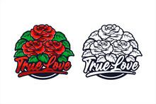 Red Roses True Love Design Illustration