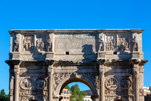 4th Century Arch Of Constantine, (Arco Di Costantino) Next To Colosseum, Details Of The Attic, Rome, Italy