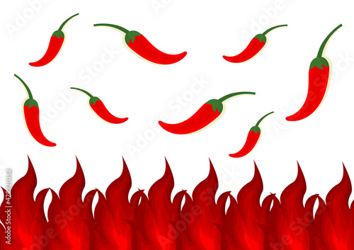 illustration with a spicy theme with a design of red chilies and a burning fire Wallpaper Mural