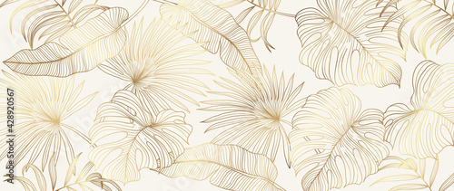Fotografie, Obraz Luxury gold tropical leaves background vector
