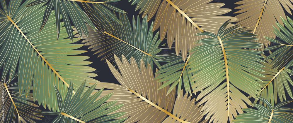 Luxury gold tropical leaves background vector. Wallpaper design with golden line art texture from palm leaves, Jungle leaves, monstera leaf, exotic botanical floral pattern. - obrazy, fototapety, plakaty