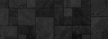 Panorama Of Building Exterior Black Granite Block Wall Texture And Background Seamless