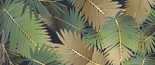 Luxury gold tropical leaves background vector. Wallpaper design with golden line art texture from palm leaves, Jungle leaves, monstera leaf, exotic botanical floral pattern. - fototapety na wymiar