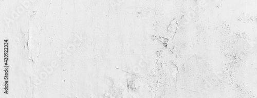 Fotografija Panorama of Cement wall painted white peeling texture and background seamless