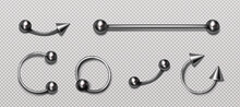 Set Of Piercing Jewelry, Metal Pierce Rings, Barbell With Balls And Cones For Face And Body Decoration. Beauty Accessories, Earrings Isolated On Transparent Background, Realistic 3d Vector Icons