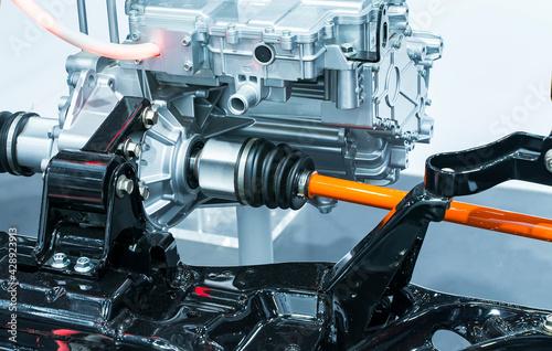 Fotografie, Obraz electric system of eco car front engine Automotive part concept