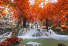 Waterfall Scene At Pha Tad Waterfalls In Rainforest At The Khuean Srinagarindra National Park Kanchanaburi
