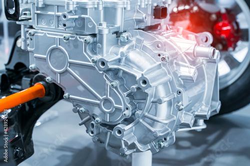 Fototapeta electric system of eco car front engine Automotive part concept
