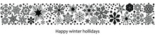 Black And White Winter Snowflakes Background Border, Vector Header For Xmas Or Other Winter Holidays