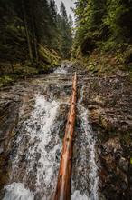 Mountain Landscape. Misty Forest. Natural River Stream. Slovakia, Low Tatras, Demenovska Hora And Dolina Vyvierania. Liptov Travel.
