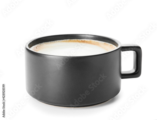 Fotografia Cup of hot cappuccino coffee on white background