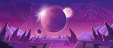 Space Background With Purple Planet Landscape, Stars, Satellites And Alien Planets In Sky. Vector Cartoon Fantasy Illustration Of Cosmos, Cracked Stone Surface With Rocks And Mountains